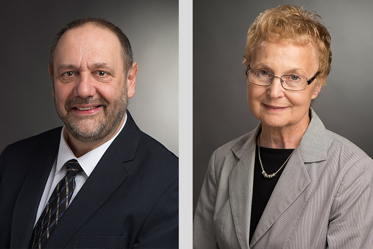 portraits of Gregory D'Amico and Barbara Birkett.