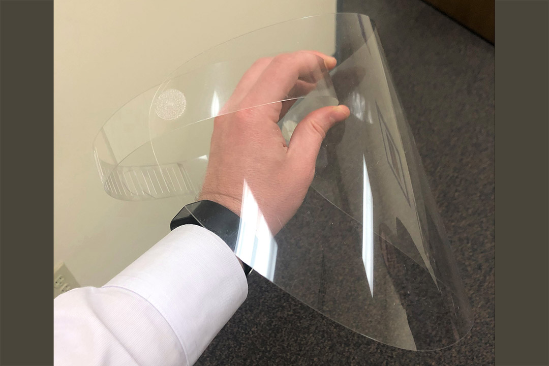 clear, plastic face shield.