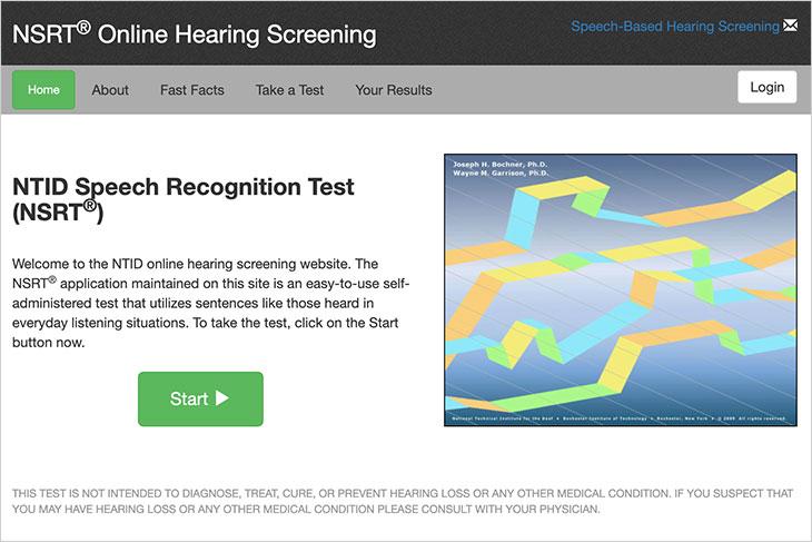 screenshot of NTID Speech Recognition Test online hearing screening website.