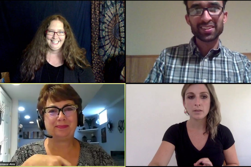 screenshot of four participants on a Zoom call.