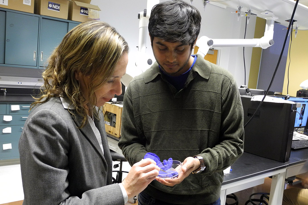 professor and student looking at a petri dish.