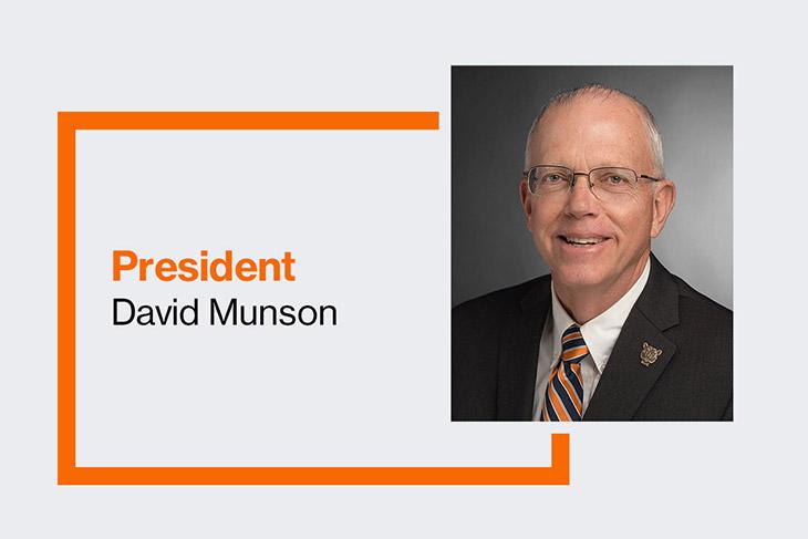 graphic with portrait of RIT President David Munson.