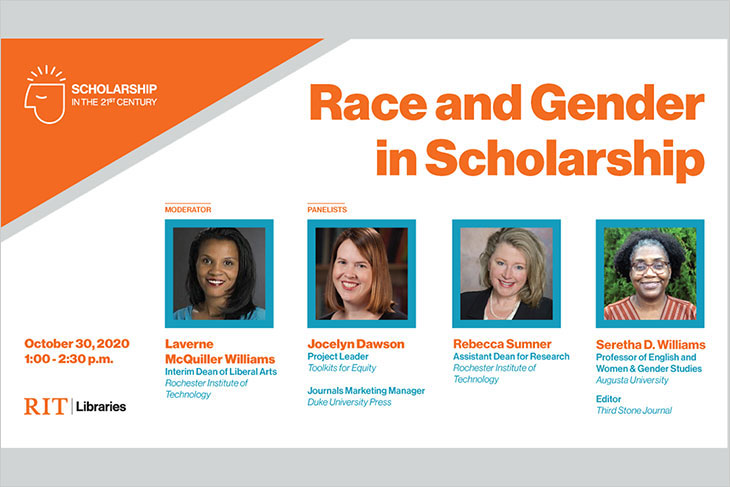 poster for Race and Gender in Scholarship event, 1-2:30 p.m. October 30, with Laverne McQuiller-Williams, Jocelyn Dawson, Rebecca Sumner and Seretha Williams.