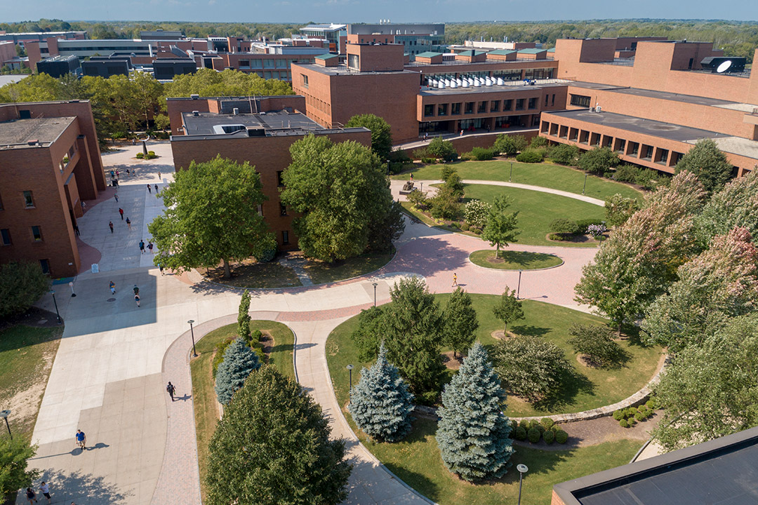 aerial view of buildings on RIT campus.