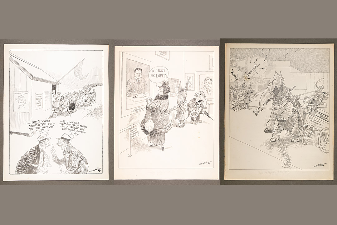 three political cartoons from the early 20th century.