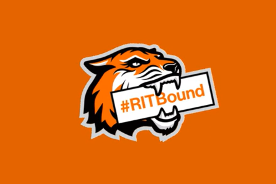 Congratulations accepted students text with RIT tiger logo holding a banner that says RIT bound.