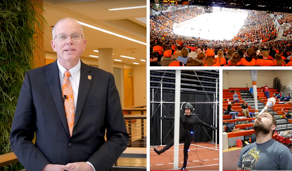 A collage of images, featuring President Dr. Munson on the left.
