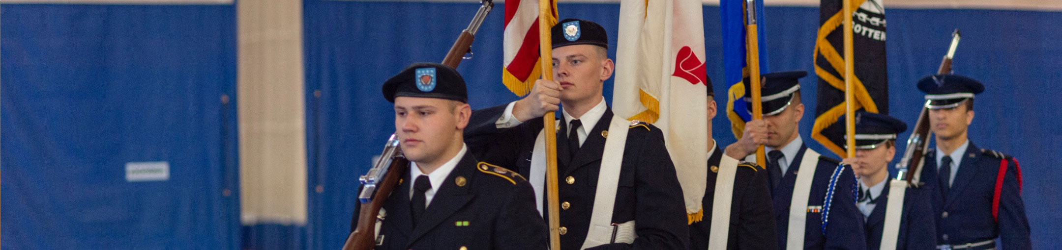 A group of RIT ROTC students in uniform.