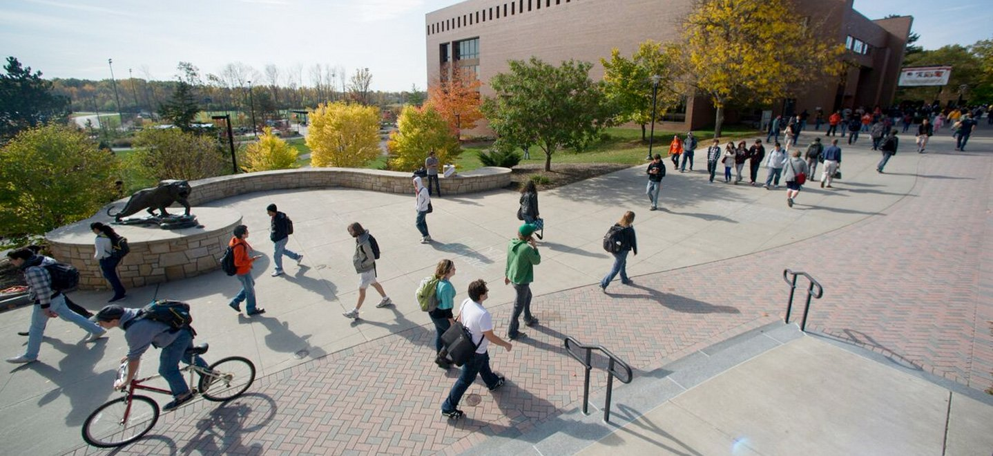a picture of people walking on campus for background of page title