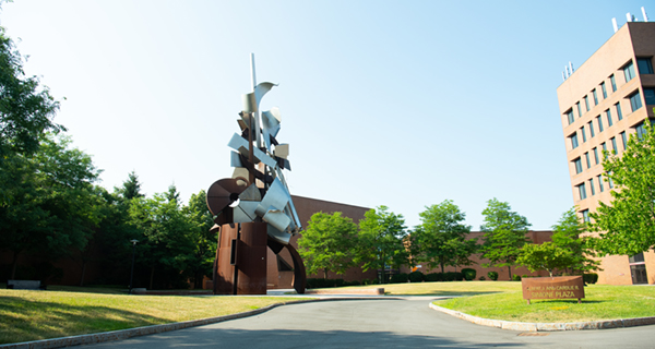 Sentinel statue on campus