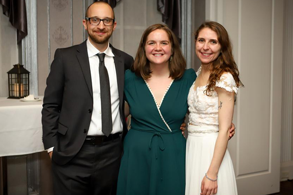 Dillon Ameigh, officiant Jordan Roth '16, and bride Katherine Perchik '16 (NTID)