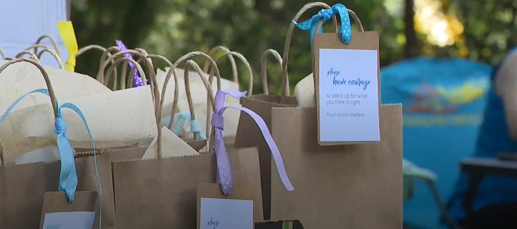 Bags for homeless shelter