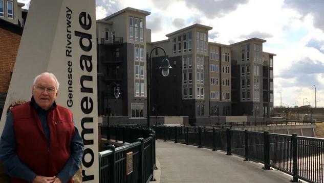 Gene DePrez at home on Rochester's new Riverwalk