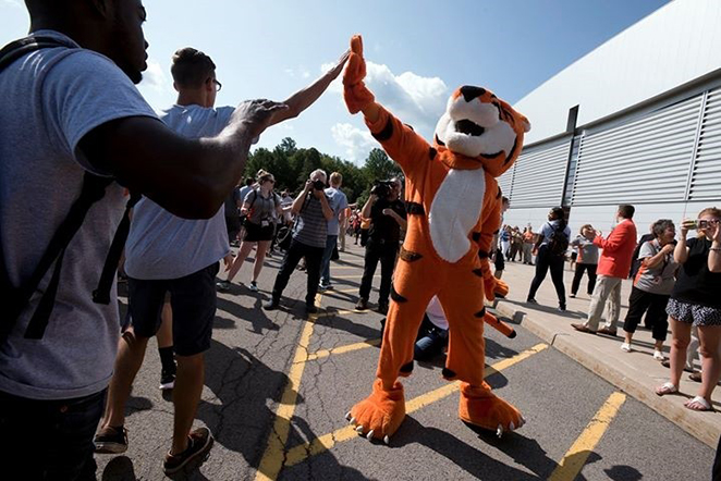Ritchie the tiger giving high-fives to students