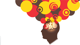 silhouette of a head with thought bubbles and gears billowing out