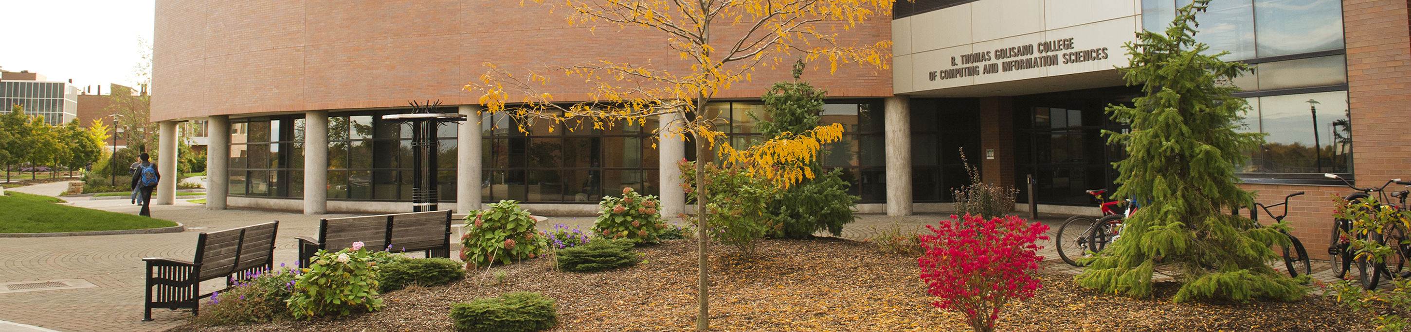 image of the B. Thomas Golisano College of Computing and Information Sciences building in fall