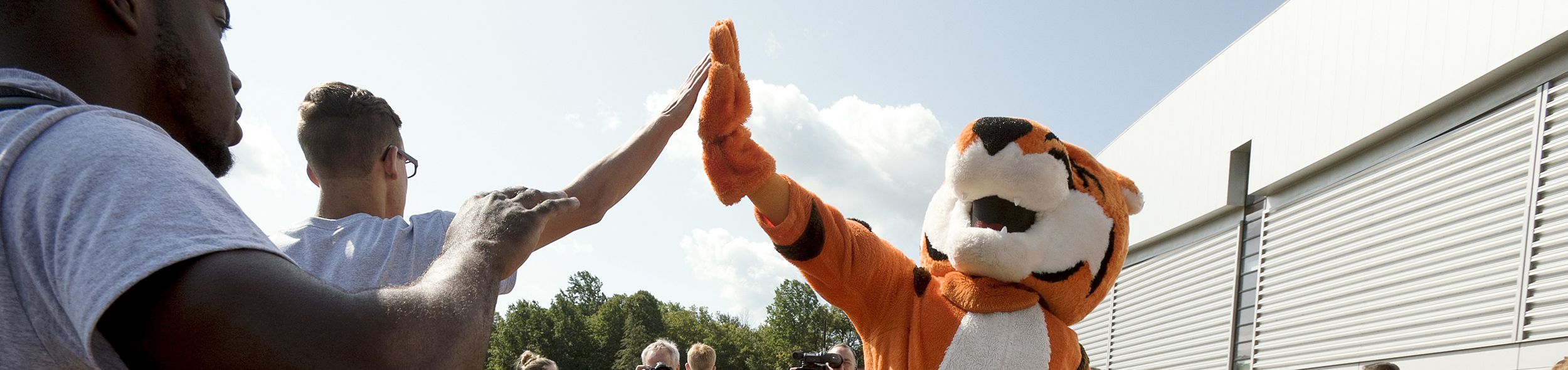 Ritchie the tiger mascot giving high fives to students.