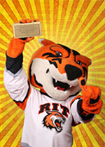 Image of Ritchie the tiger holding a golden brick award