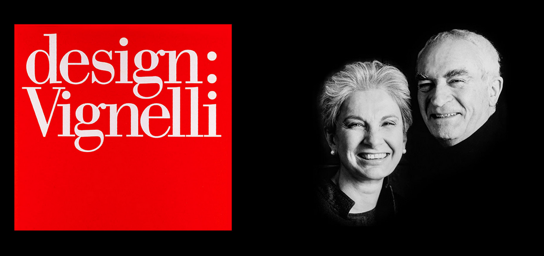 "text: ""design: Vignelli"" next to a black and white photos of the Vignalli's"