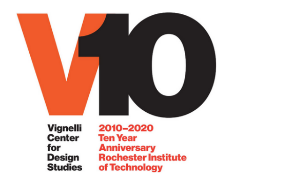 "graphic text that reads ""V10 Vignelli Center for Design Studies 2010-2020 Ten Year Anniversary Rochester Institute of Technology"""