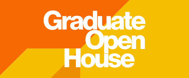 Stylized text for graduate open house