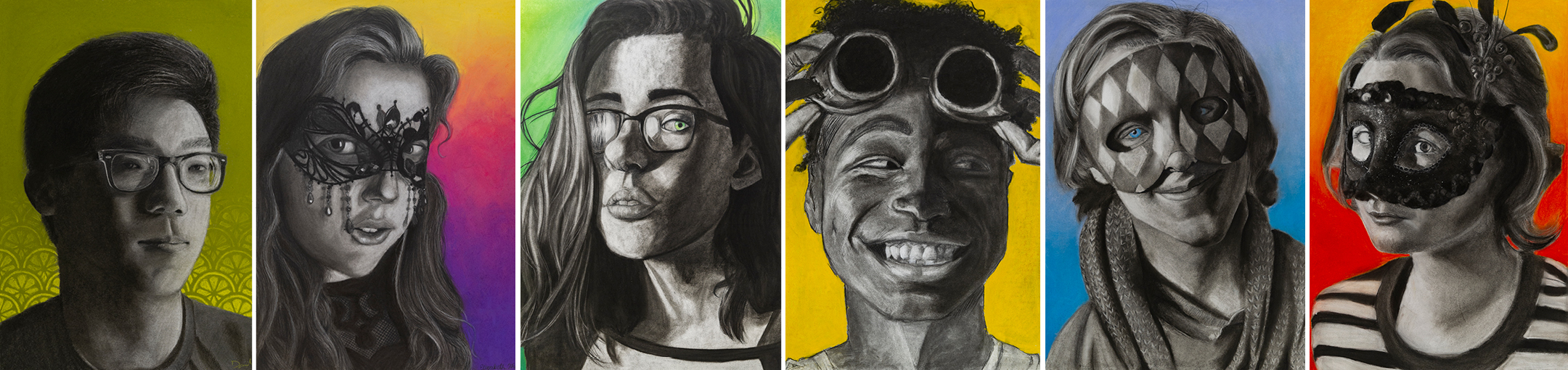 A collection of self-portraits by students