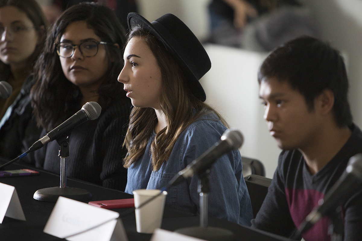 A student panel speaks at Day of Photo 2017