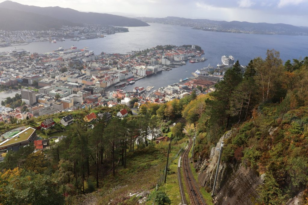 View from a funicular in Bergen, Norway