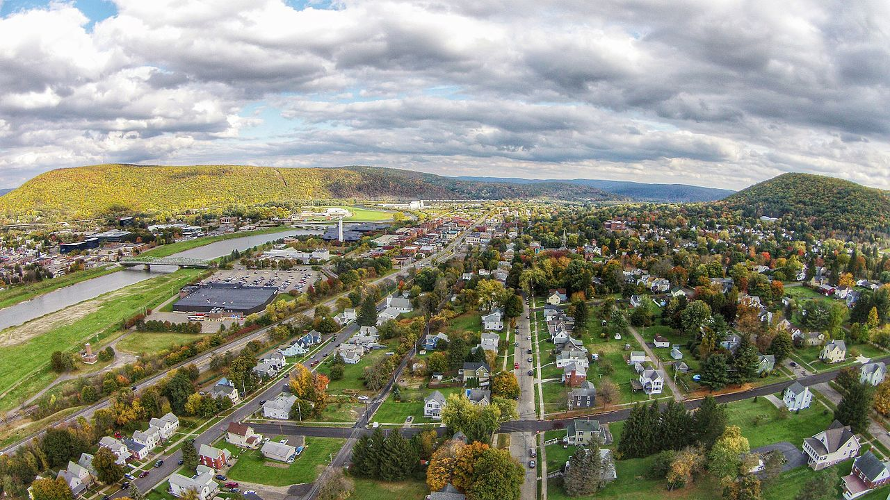 Birds eye view of the town of Corning, NY
