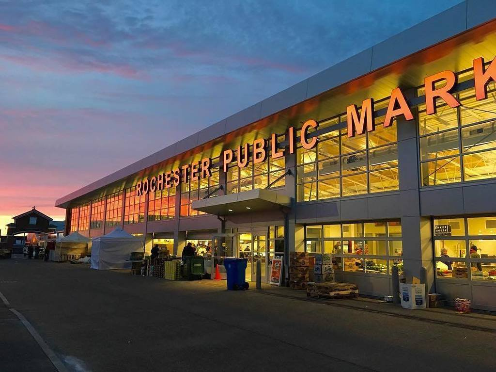 Rochester Public Market at sunset