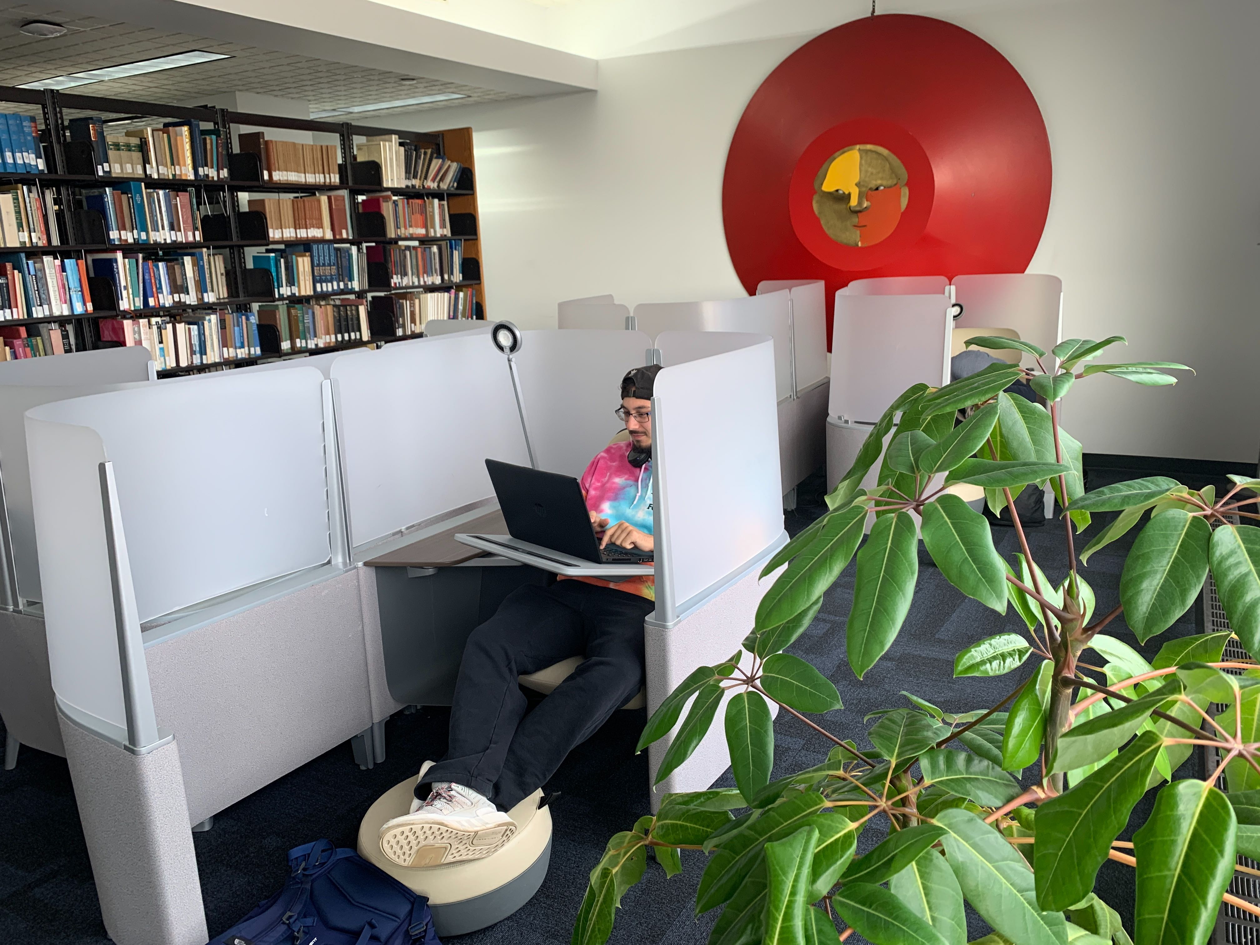 student sitting in study pod in the library