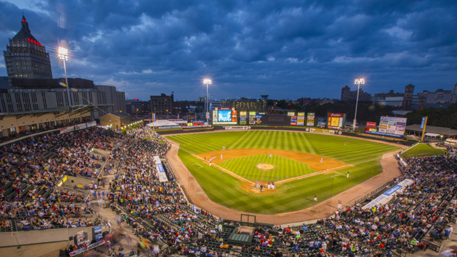 Rochester Red Wings stadium at night