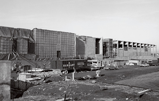 Construction of the Frank Ritter Ice Arena, black and white photo