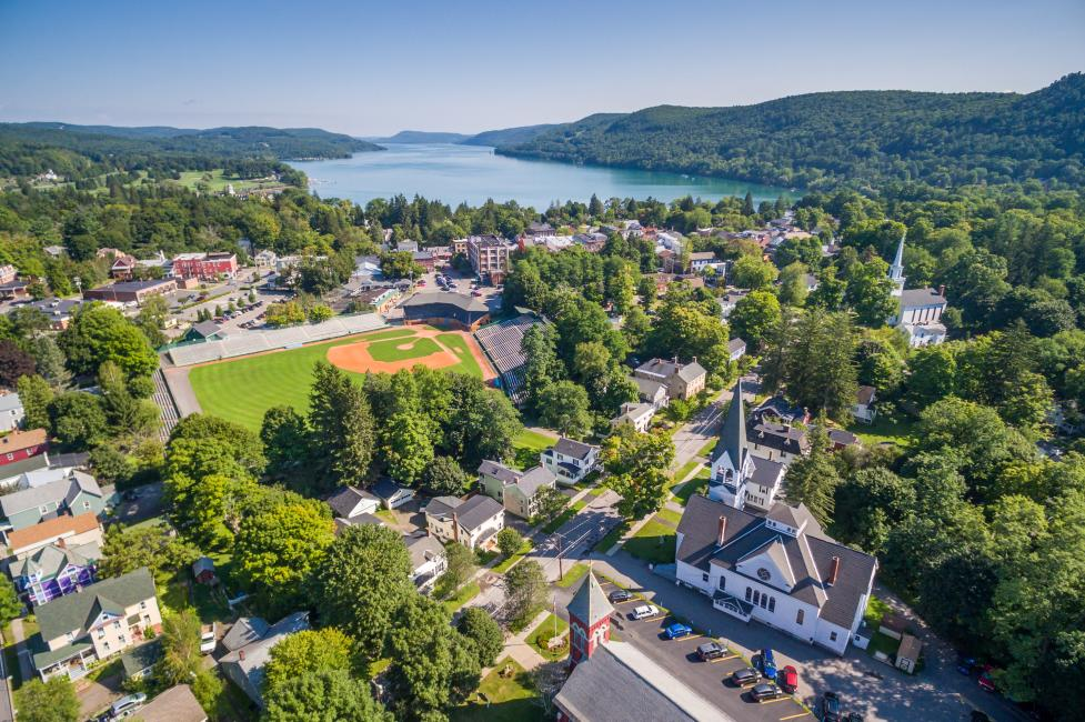 Birds eye view of Cooperstown, New York with a baseball field