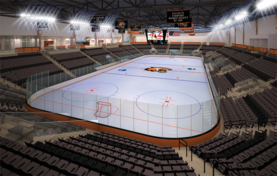 Empty GPC with fresh ice and a tiger logo in center ice