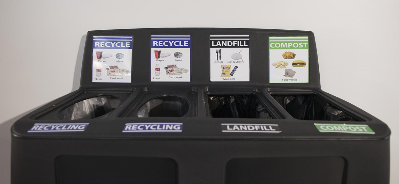 Recycling and trash bins at RIT