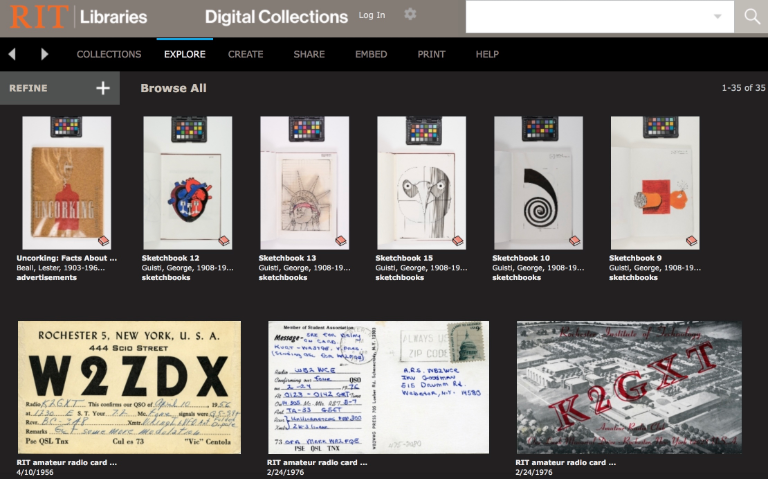 Screenshot of Digital Collections website
