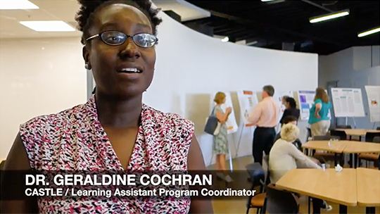 Dr. Geraldine Cochran featured in thumbnail for video about the Learning Assistants program.
