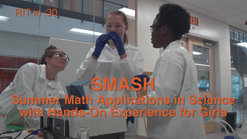 3 Highschool students participating in the SMASH Experience