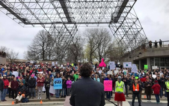 Dr. Scott Franklin speaking at Rochester March for Science