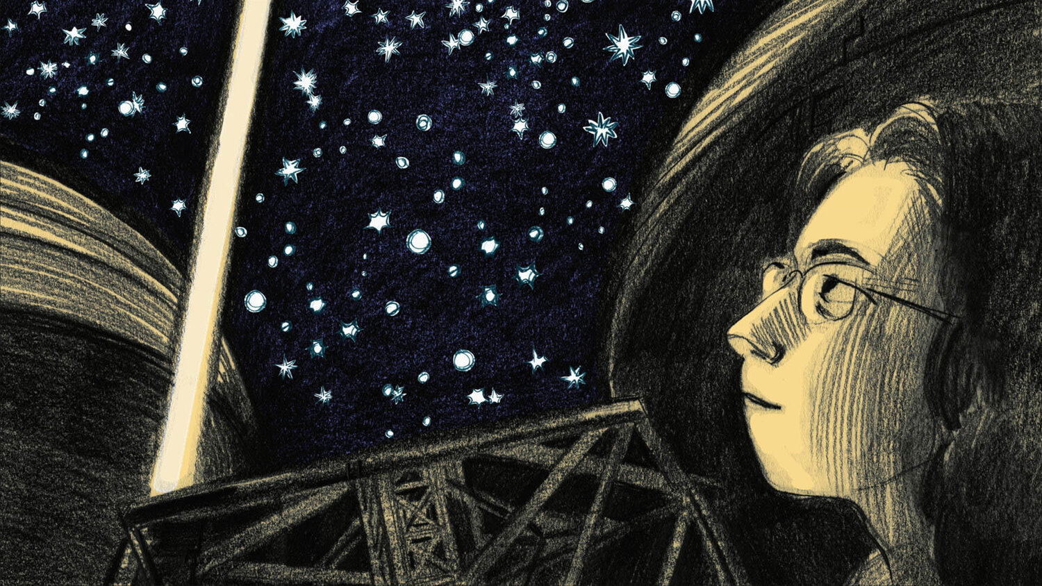 black and white drawing of young person gasing at the stars