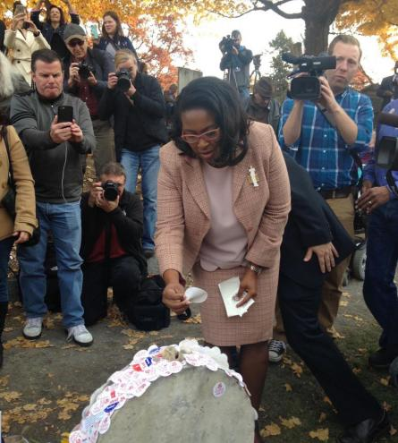 Rochester Mayor Lovely Warren at Susan B. Anthony's Grave, Election Day, 2016. Credit: Christine A. Kray