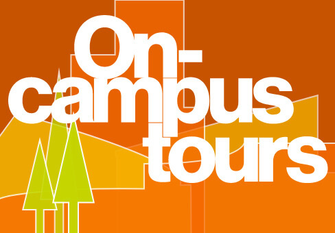 Stylized text for on campus tours