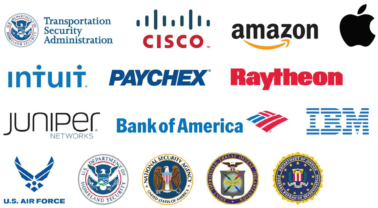A list of logos, including Apple, IBM, and the FBI