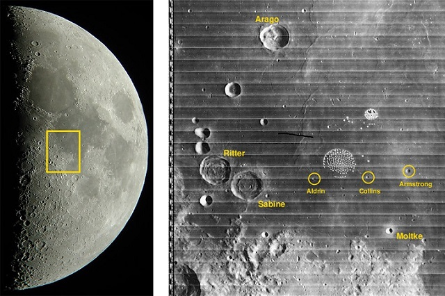 Images of the moon taken by David Haworth and Stargazing.net (left) and The Digital Lunar Orbiter Photographic Atlas of the Moon (right) show a sample of the named craters.