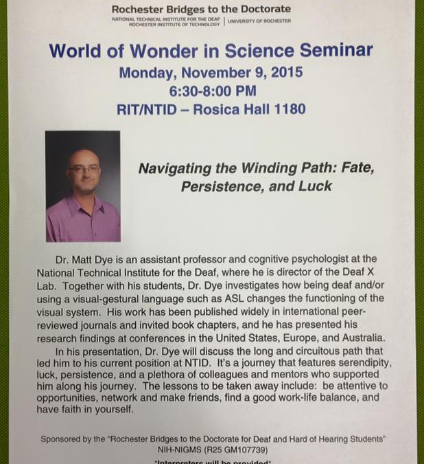 "Dr. Matt Dye presents ""Navigating the Winding Path: Fate, Persistence, and Luck"""