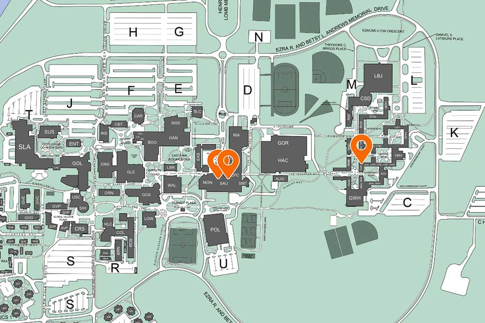 Map showing MCAS locations on RIT campus