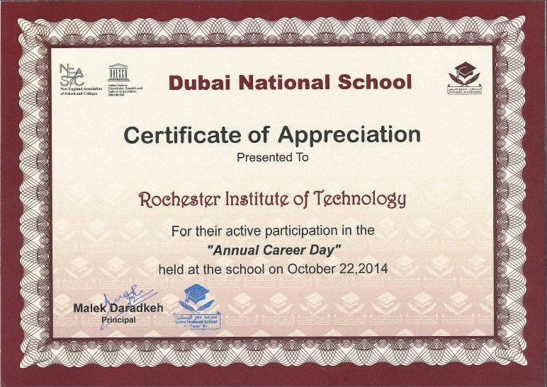 Rit dubai receives certificate of appreciation from dubai national rit dubai receives certificate of appreciation from dubai national school rit dubai yelopaper Choice Image