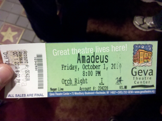 A ticket to see Amadeus at the Geva Theatre on Friday, October 1st at 8PM