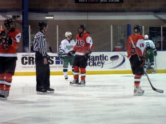 The RIT Tigers during the RIT vs. Mercyhurst game. Hockey is definitely our biggest sport.